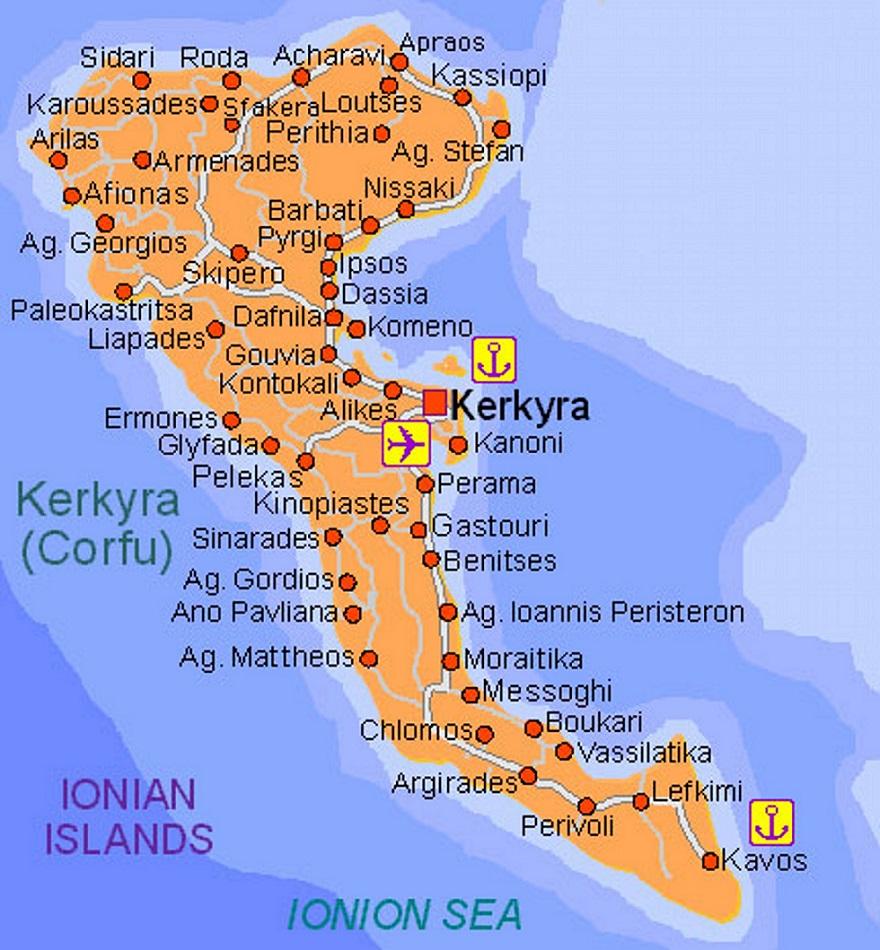 Kavos Ostrvo Koje Nikada Ne Spava Go2 Travelling Krf Mapa
